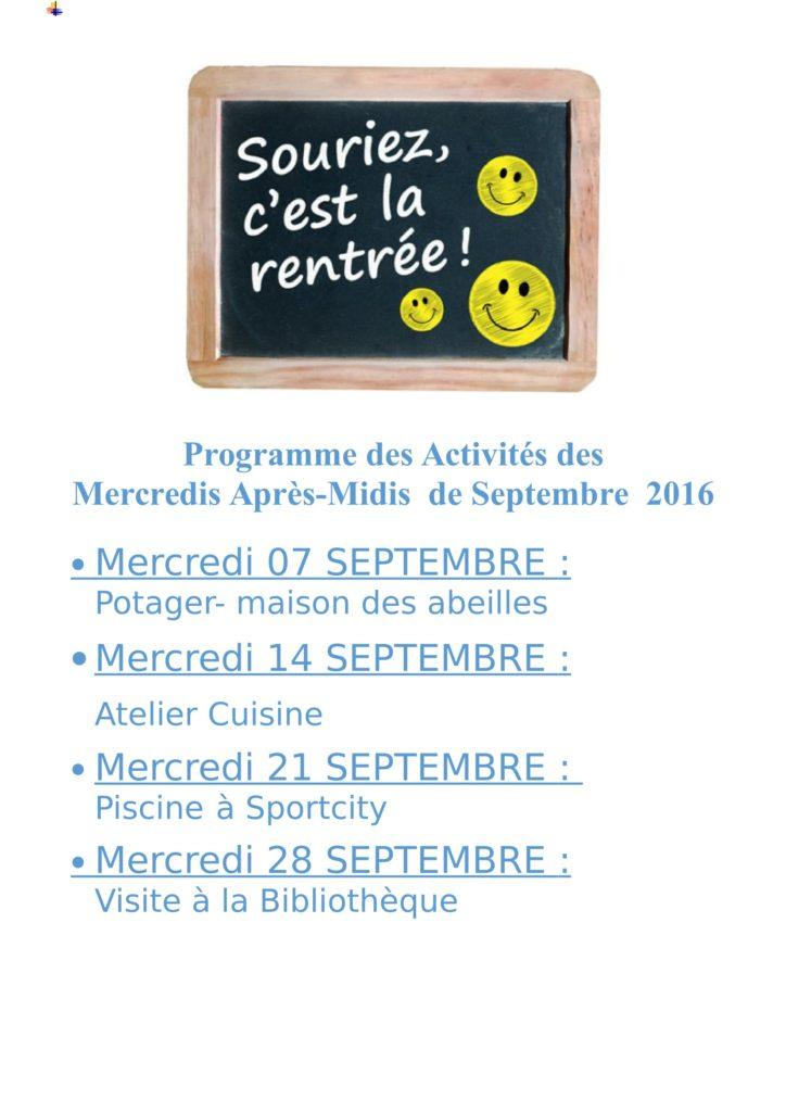 SEPTEMBRE  2016 - Programme des Activités des mercredis Ap Midis-1